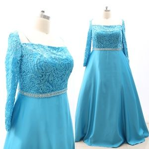 Plus Size Long Sleeves Lace Satin Blue Formal Gown